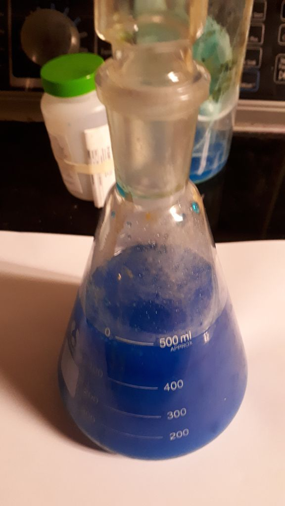 Picture of Making the Copper (II) Acetate From Copper Sulfate and Sodium Acetate (with No Water).