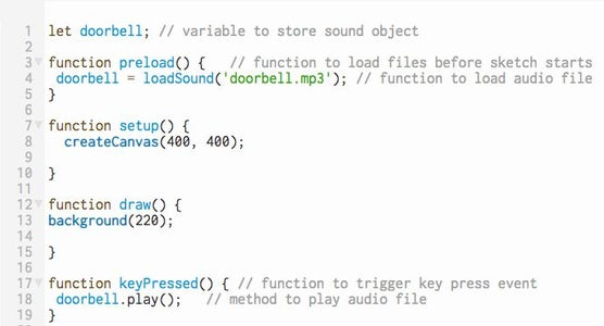 Play Audio File Using KeyPressed() Function