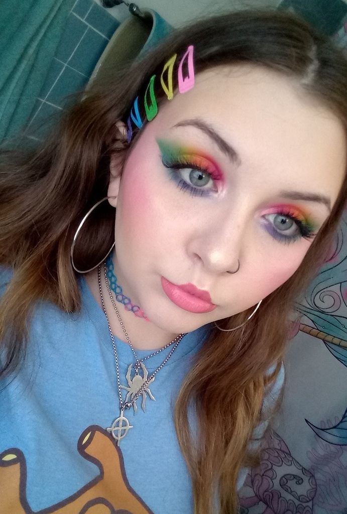 Picture of Full Face of Makeup With Rainbow Eyeshadow