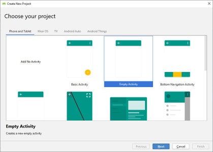 Projeto Android Passo 2 De 8: Selecionando Tipo Do Projeto