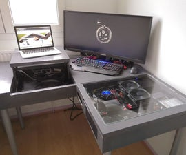 Desk With Built-in Computer and Laptop Height Stand