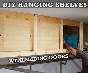 DIY Hanging Storage Shelves With Sliding Doors - Overhead Garage Storage