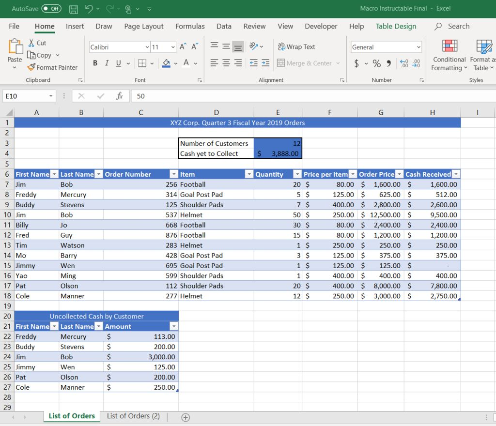 Picture of Creating a Macro in Microsoft Excel