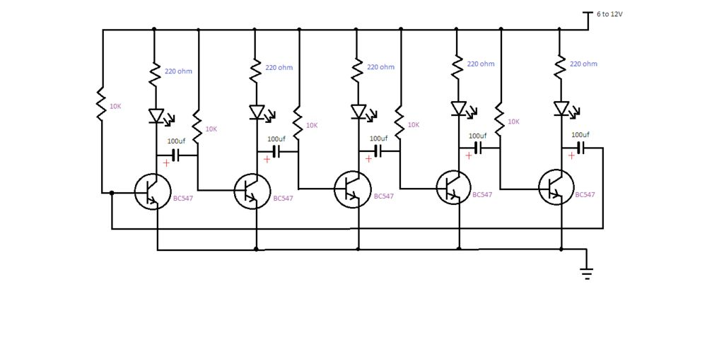 nice effect led chaser circuit using bc547  11 steps