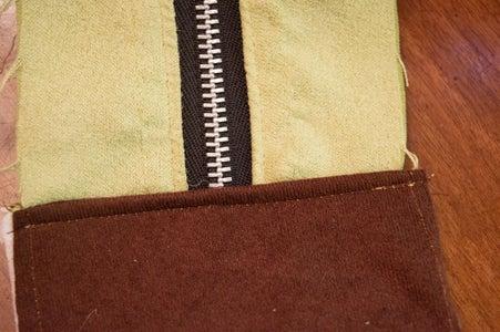 缝拉链面板到侧面板