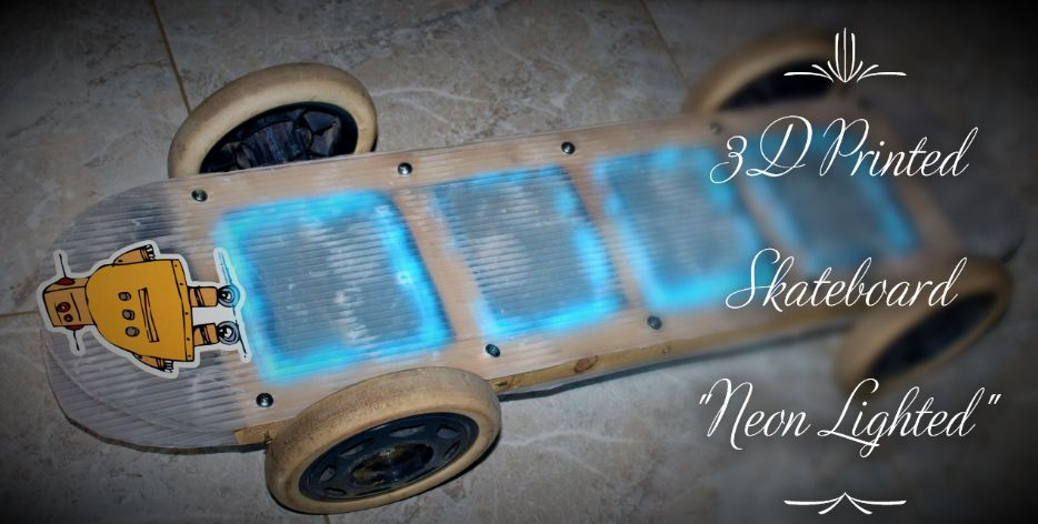 """Picture of 3D-Printed Skateboard """"Neon Lighted"""""""