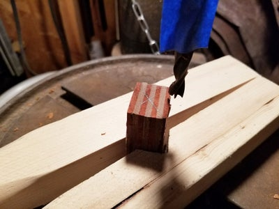 Drill Hole in Wood Blank