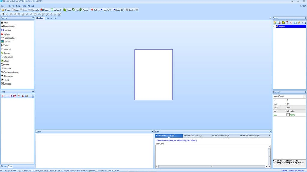Picture of Developing Interface in Nextion Editor
