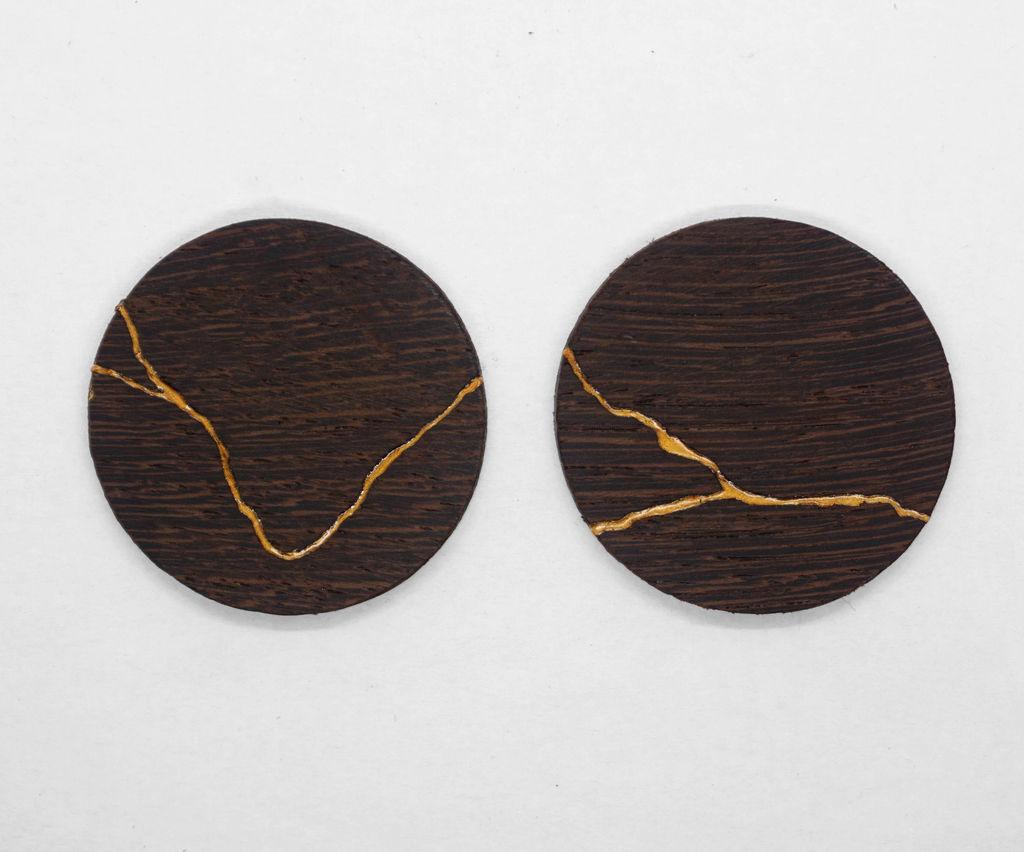 Kintsugi Wooden Earrings - Japanese Art