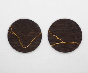 Kintsugi Wooden Earrings / Japanese Art