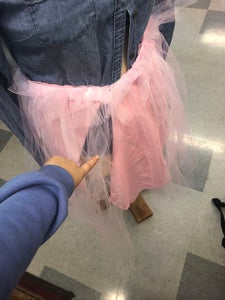 Sewing the Cloth Onto the Elastic Band W/ Tulle
