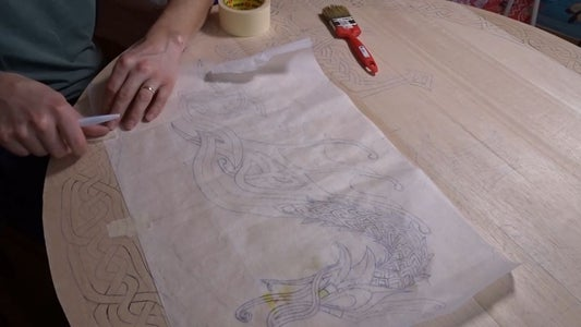 Preparing the Wooden Base of the Shield and Drawing the Design.