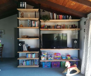 Wood and Steel Shelving Unit