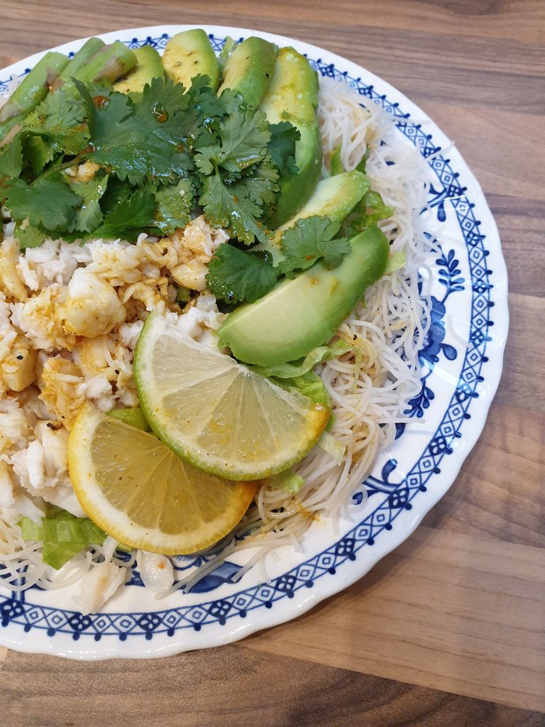Picture of Luscious Crab and Avocado Salad With Green Tea Noodles and Soy Dressing