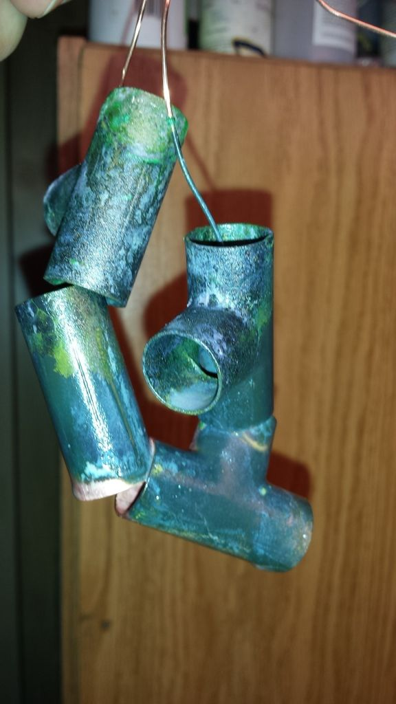 Picture of Vanadium Antifreeze Lye Plating Over Copper to Make Art With It.