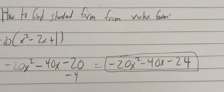 How to Find Standard Form From Vertex Form: