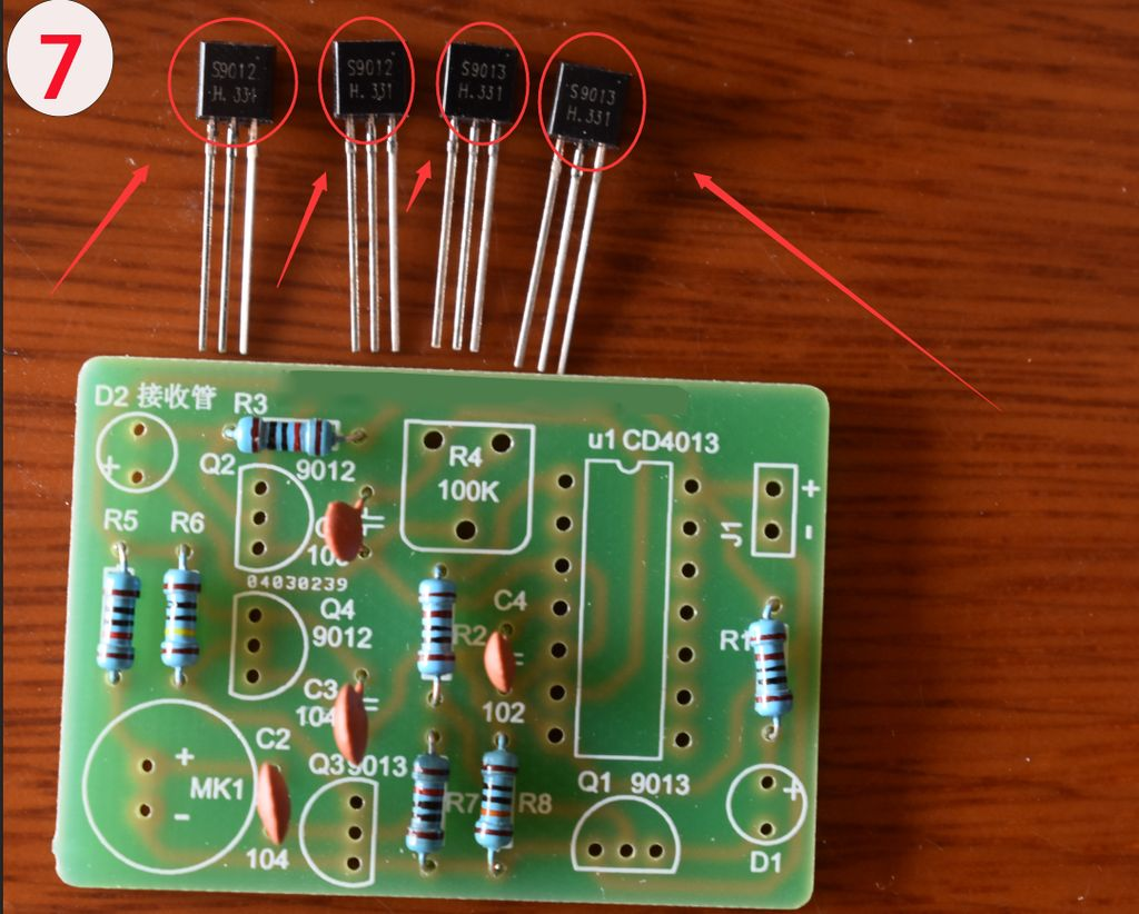 Picture of Solder the NPN and PNP Transistors to the PCB