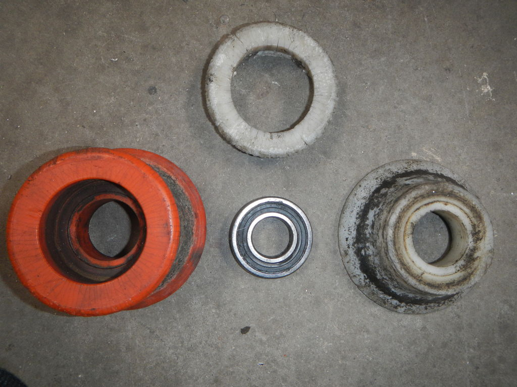 Picture of Replacement of the Damaged Poly Wheels After 5 Years Use