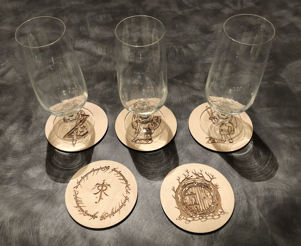 Picture of Drink Coasters With a Tolkien or Zelda Theme