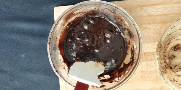 Add Chocolate Mixture to Egg+sugar Mixture