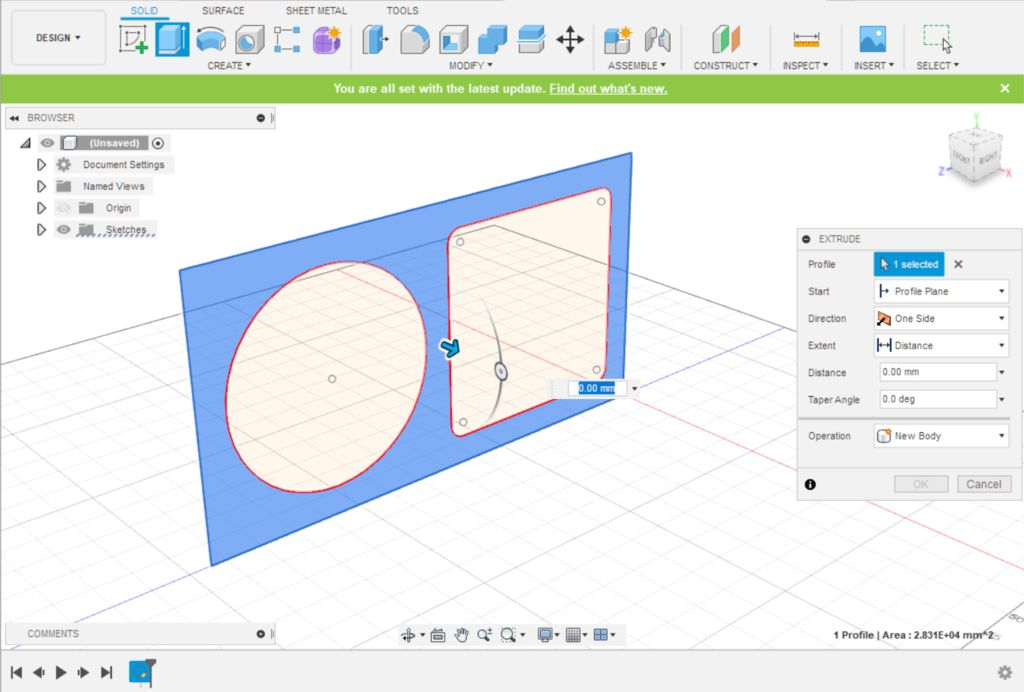 Picture of Fusion 360 Design: Extruding the Main Body