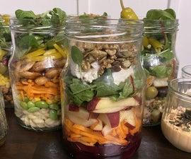 沙拉罐5天的膳食准备