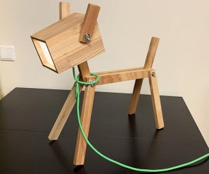 A Wooden Dog LED Lamp