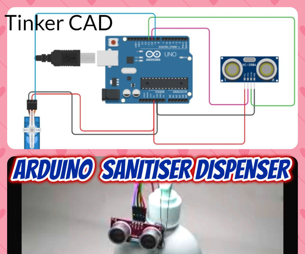Arduino Sanitizer Dispenser Tinker Cad    4 Steps