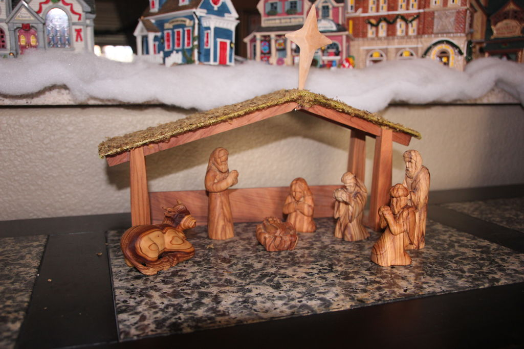 Picture of Hand Carved Nativity Set Out of Olive Wood From Jerusalem.