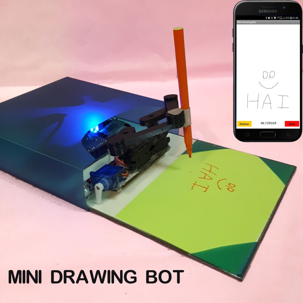 Picture of Mini Drawing Bot - Live Android App - Trignomentry
