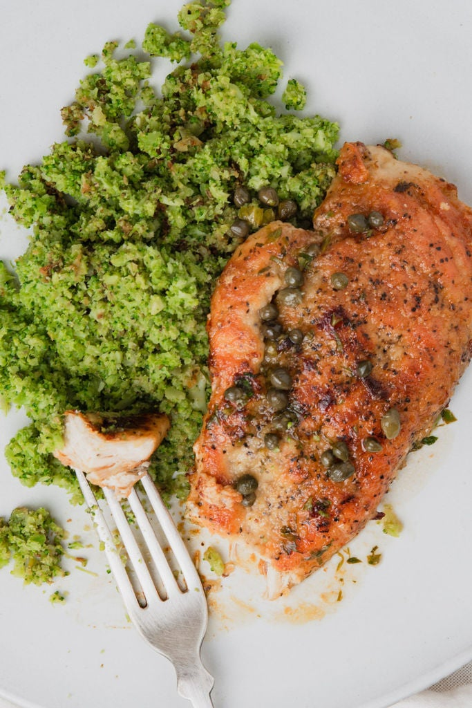 Picture of Vegetables and Protein: Chicken Piccata With Broccoli Rice