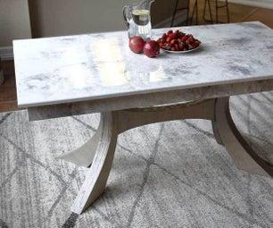 DIY Kitchen Table With Stone Coat Epoxy