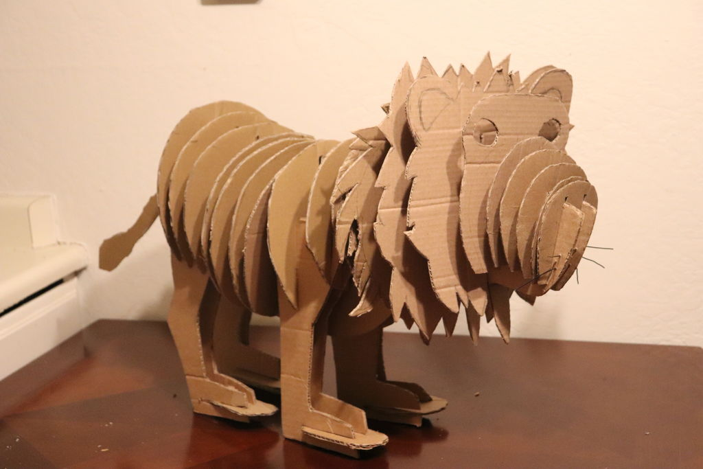 Picture of Recycled Cardboard Lion Sculpture