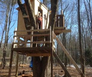 多级树屋由回收材料