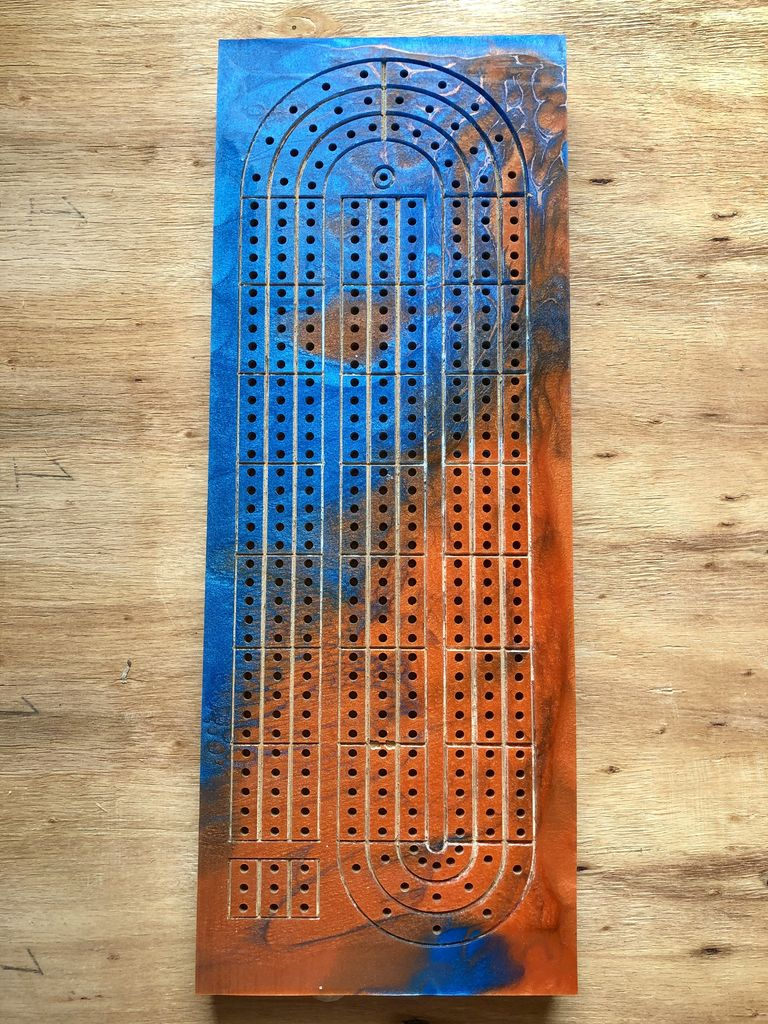 Picture of CNC Epoxy Cribbage Board