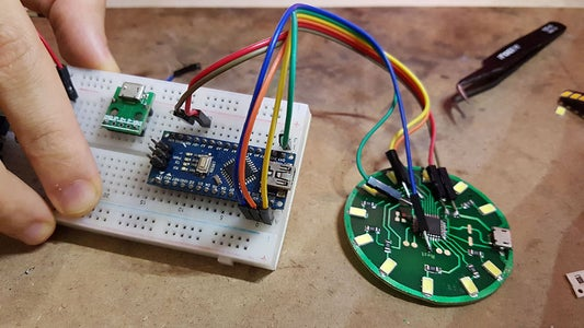 Conect Pins to Arduino for Bootloader and Progeram Code