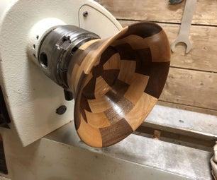 分段Woodturned碗没有台锯