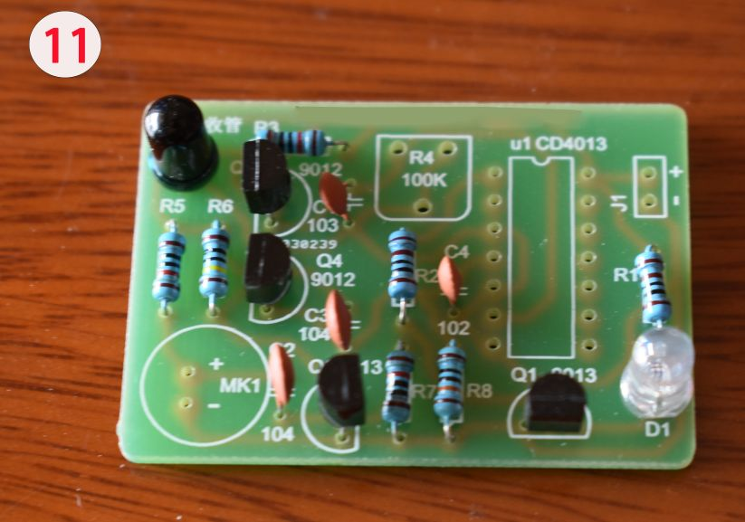 Picture of Solder the Photodiode and Colorful LED to the PCB