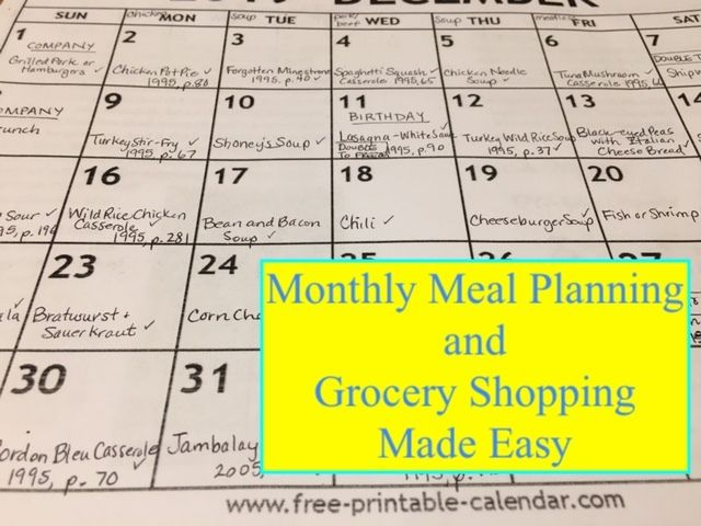 Picture of Monthly Meal Planning and Grocery Shopping Made Easy