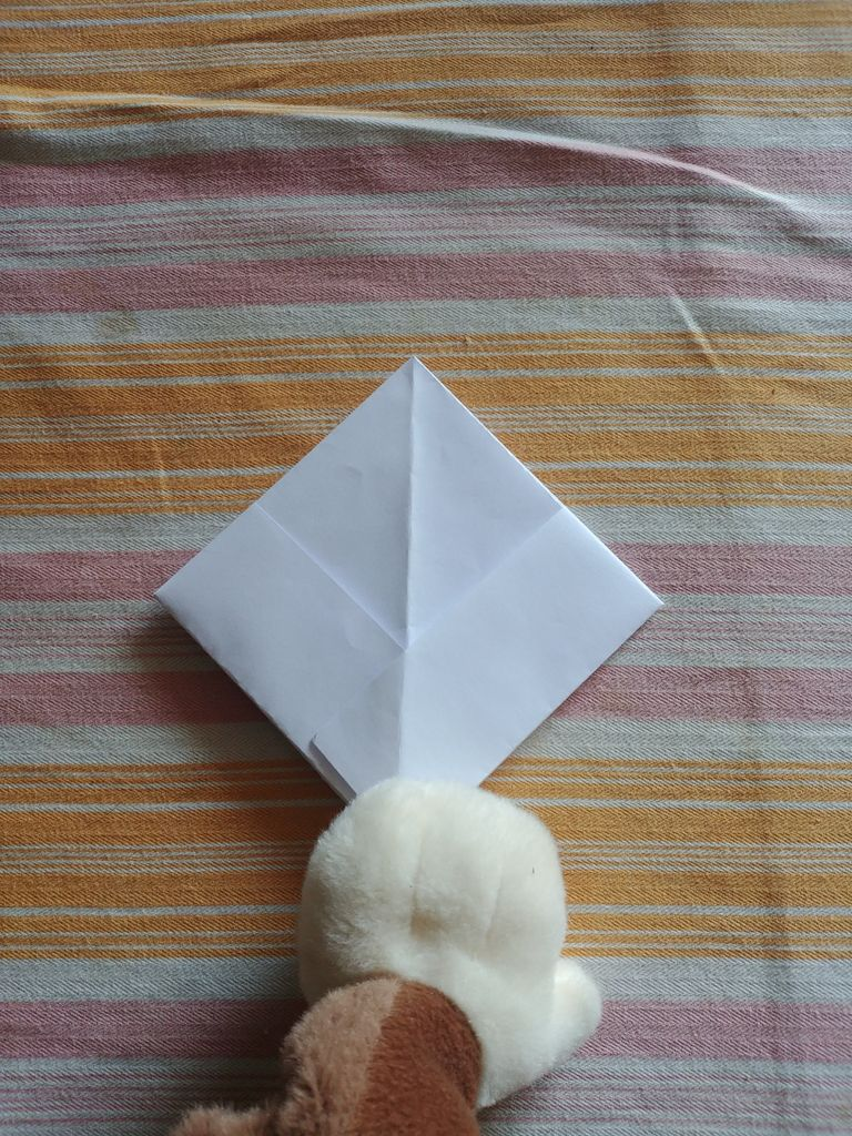 Picture of Fold the Edges of the Hat Towards Each Other, Creating a Square.