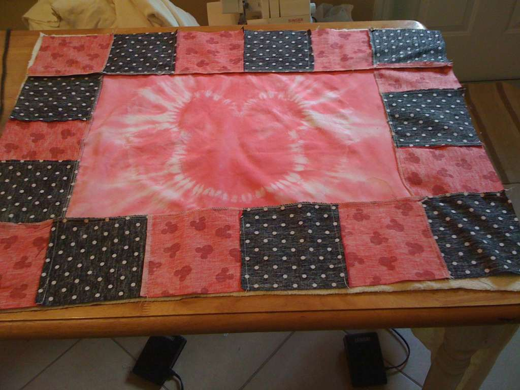 Picture of Mickey Mouse Blanket From a Pillowcase and Fabric Scraps