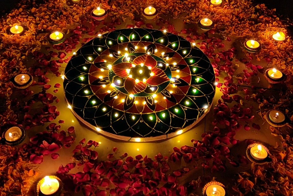Picture of FAIRY LIGHTS RANGOLI WITH CANVAS