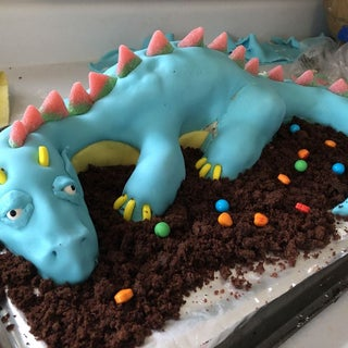 Super Fire Breathing Dragon Cake 6 Steps With Pictures Instructables Personalised Birthday Cards Veneteletsinfo
