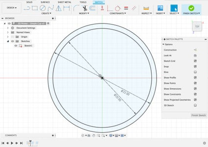 Creating a 3D Design - Draw Two Concentric Circles in a Sketch