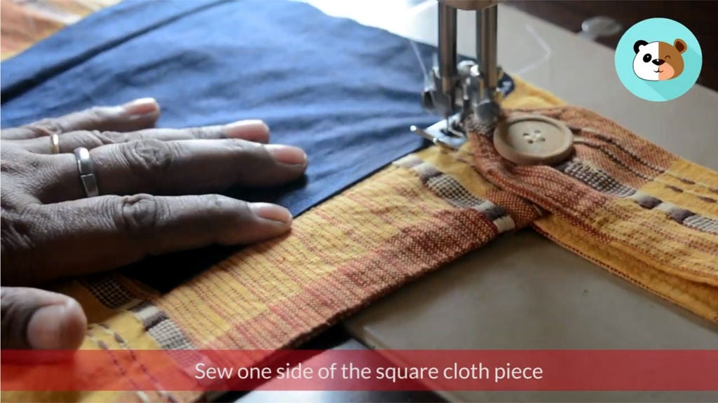 Picture of Take Your Square Size Cloth Pieces and Start Sewing Them Horizontally