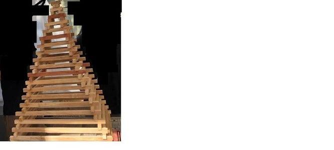 Stacked wood beam pyramid frame
