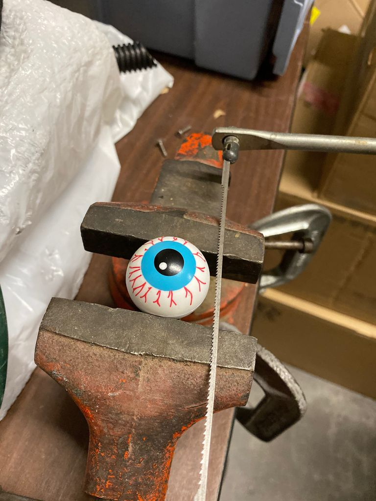 Picture of Cut Ping Pong Ball in Half and Drill Hole