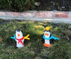 Winter Gnomes (Snowman and Penguin) Made Out of Plastic Bottle