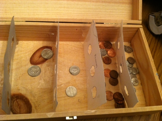 Homemade coin sorter 2 Coin sorting bank for kids
