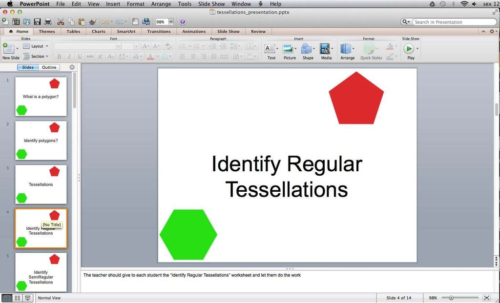 Picture of Classroom Activity - Identify Regular Tessellations